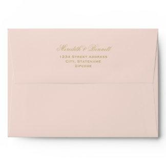 A7 Blush Wedding with Gold Return Address Envelope