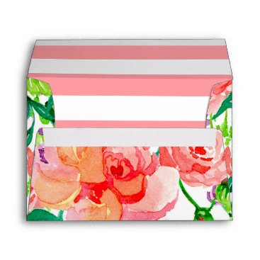 luxuryweddings A7 Bold Striped Modern Floral Watercolor Roses Art Envelope