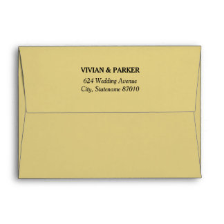 A7 Champagne Gold Wedding with Return Address Envelope