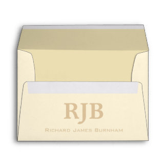 A7 Cream Ivory Beige Monogrammed Envelopes