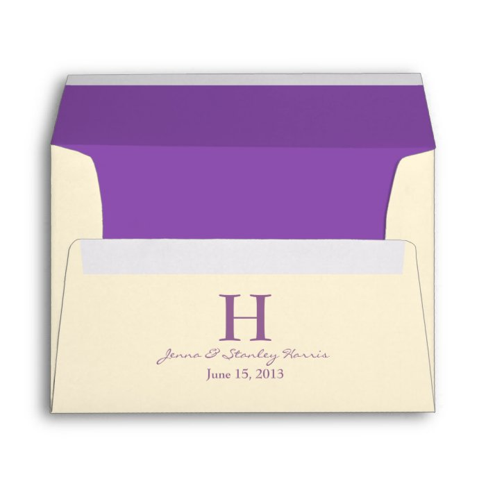 a7 cream purple monogram wedding envelopes zazzle