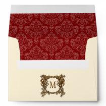 A7 Cream & Red Floral Crest Damask Monogram Envelope