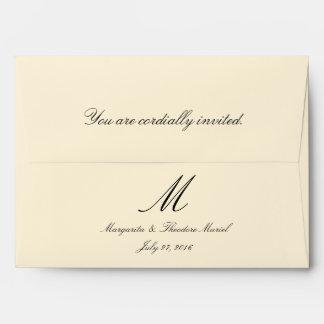A7 Cream Simple Monogram Wedding Envelopes