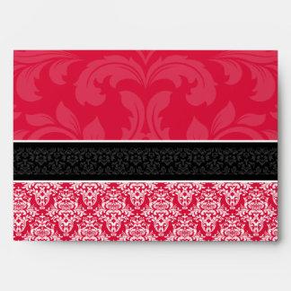 A7 Crimson Black Damask Monogram Wedding Envelopes