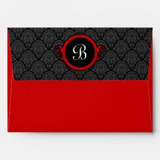 A7 Crimson Red Damask Flap Monogram Envelopes