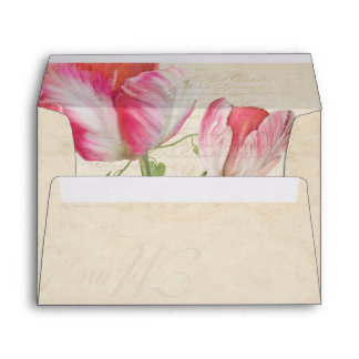 A7 Elegant Botanical Floral Artwork Vintage Tulips Envelope