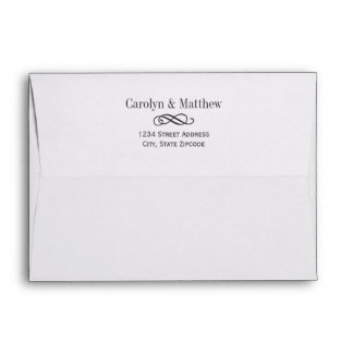A7 Elegant Scroll White with Black Return Address Envelope