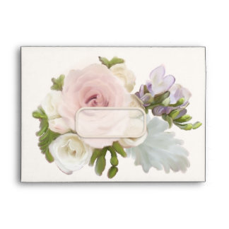 A7 Exquisite Pretty Rose Freesia Floral Weddings Envelope
