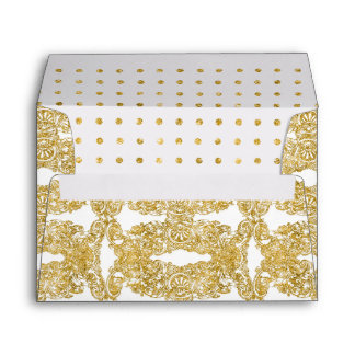 A7 Faux Gold Glitter Engraved Floral Damask Dot Envelope
