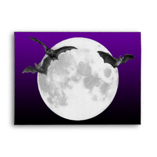 A7 Full Moon with Bats Invitation Envelope