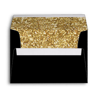 "A7 Gold Glitter Black Envelope (7.25"" x 5.25"")"