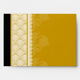 A7 Gold One-Side Damask Envelopes