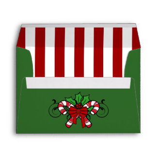 A7 Green Candy Cane Striped Christmas Envelopes