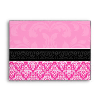 A7 Half Hot Pink Black & White Damask Envelopes