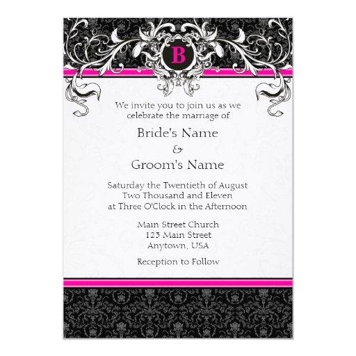 A7 Hot Pink Black Damask Monogram Wedding Invites Zazzle