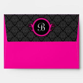 A7 Hot Pink Damask Flap Monogram Envelopes