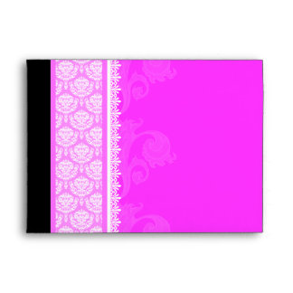 A7 Hot Pink One-Side Damask Envelopes