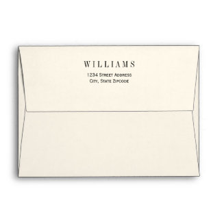 A7 Ivory with Black Return Address Wedding Mailing Envelope