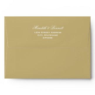 A7 Light Antique Gold Wedding Return Address Envelope