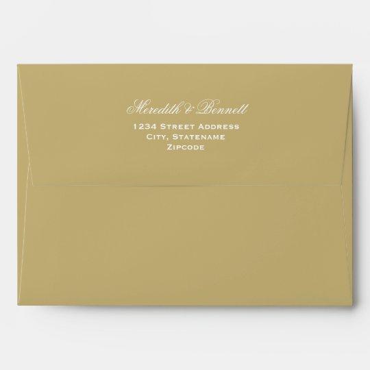a7 light antique gold wedding return address envelope zazzle com