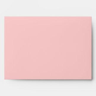 A7 Light Pink Damask Flap Monogram Envelopes