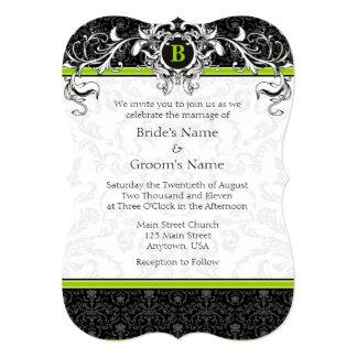 A7 Lime Green Black Damask Monogram Wedding Invite