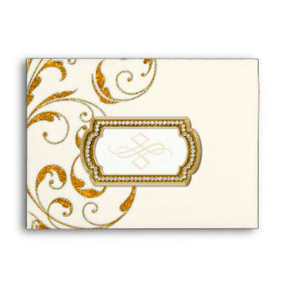 A7 Matching Glam Old Hollywood Regency Black Tie Envelope