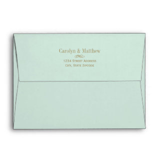 A7 Mint Green and Gold Wedding Mailing Envelope