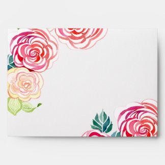 A7 Mod Floral Roses Modern Art Flower Weddings Envelopes