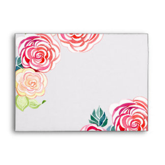 A7 Mod Floral Roses Modern Art Flower Weddings Envelope
