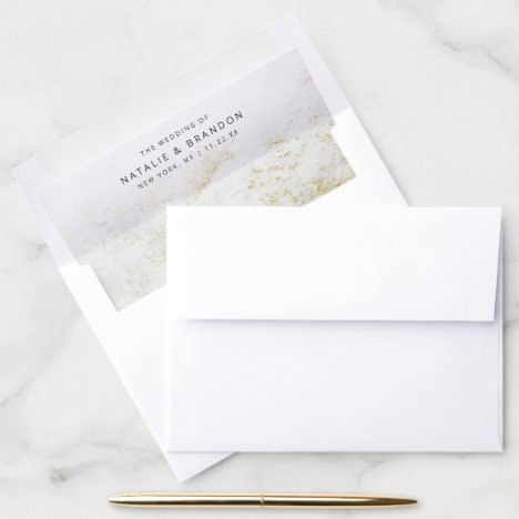 A7 Modern Marbles in White with Gold Wedding 5x7 Envelope Liner