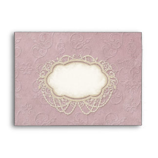 A7 Modern Vintage Lace Tea Stained Hydrangea Roses Envelope