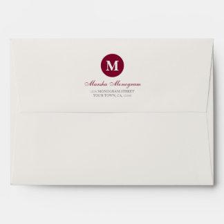 #A7 - Monograma rojo y poner crema (interior rojo) Sobre