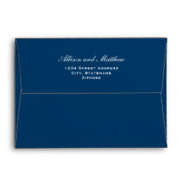 A7 Navy Blue Envelopes with White Return Address