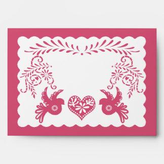 A7 Papel Picado Hot Pink Fiesta Wedding Envelopes