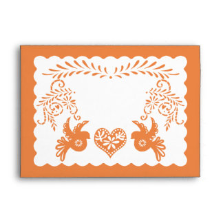 A7 Papel Picado Orange Fiesta Wedding Envelopes