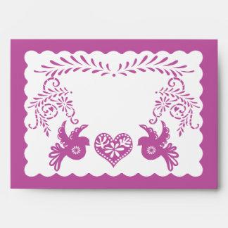 A7 Papel Picado Purple Fiesta Wedding Envelopes