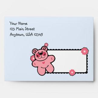 A7 Pink & Blue Teddy Bear Baby Shower Envelopes