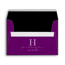 A7 Plum Purple & Black Monogram Wedding Envelopes