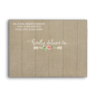 A7 Preprinted Aged Worn Boho Bohemian Wood Wedding Envelope