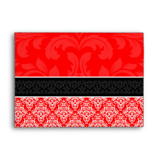 A7 Red Black Damask Monogram Wedding Envelopes