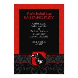 A7 Red & Black Raven Damask Halloween Invitations