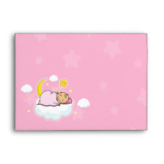 A7 Sleeping Baby Girl Pink Baby Shower Envelopes