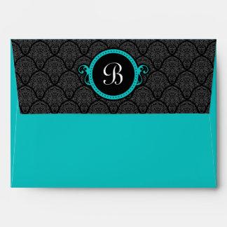 A7 Turquoise Damask Flap Monogram Envelopes