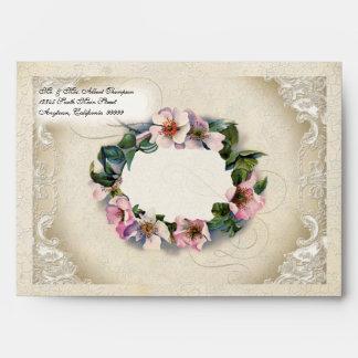 A7 Vintage Floral Lace Wild Pink Rose Swirl Formal Envelope