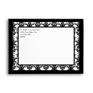 A7 Vintage Jewel Buckle Black White Damask Ribbon Envelopes
