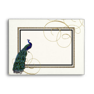A7 Vintage Peacock Feather 7 Formal Elegant Chic Envelope