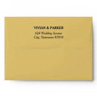 A7 Warm Gold with Return Address Wedding Envelope