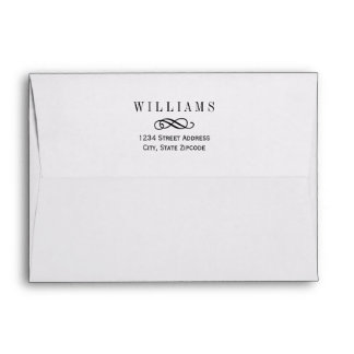 A7 White with Black Return Address Wedding Envelope
