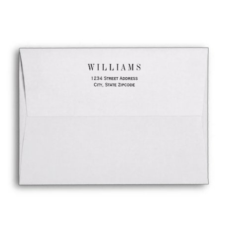 A7 White with Black Return Address Wedding Mailing Envelope